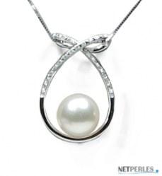 Pendente in Oro 18k Diamanti con Perla Acqua Dolce AAA