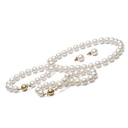 Parure 3 gioielli di perle di coltura d'acqua dolce 8-9 mm bianche