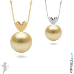Pendente a forma di cuore in oro 14k con perla dorata delle Filippine AAA