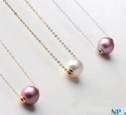 Perle d'Acqua Dolce con cerchi in oro e catenella Oro 18k 40-45 cm