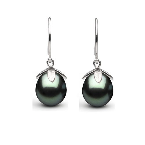 Orecchini Argento 925 e perle di Tahiti forma a goccia 10-11 mm AAA