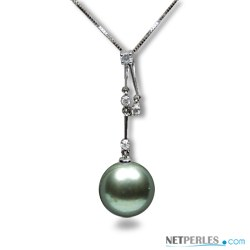 Pendente in oro 18k e diamanti con perla coltivata di Tahiti