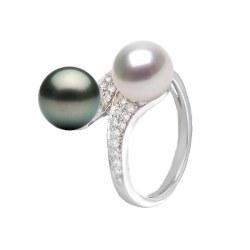 Anello You&Me, Oro 18k Diamanti perla Akoya bianca e Tahiti nera