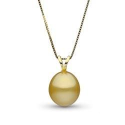 Pendente con perla delle Filippine dorata a goccia liscia AA+