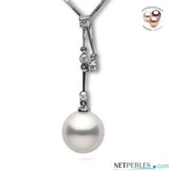 Pendente Oro 18k Diamanti Perla bianca DOLCEHADAMA