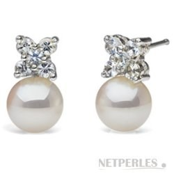 Orecchini in oro 18k con diamanti e perle di coltura Akoya bianche AAA