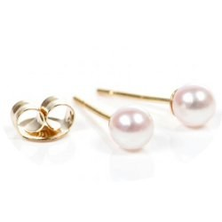 Orecchini di piccole perle coltivate Akoya bianche in oro 18 carati 4-4.5 mm AAA