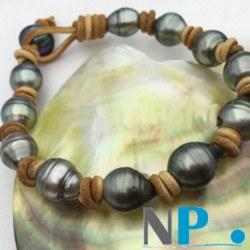 Braccialetto cuoio con perle di Tahiti 9-11 mm Barocche