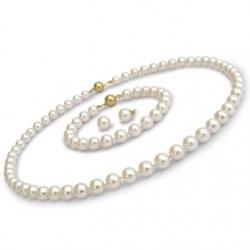 Parure 3 gioielli di perle di coltura Akoya, 7-7.5 mm, bianche