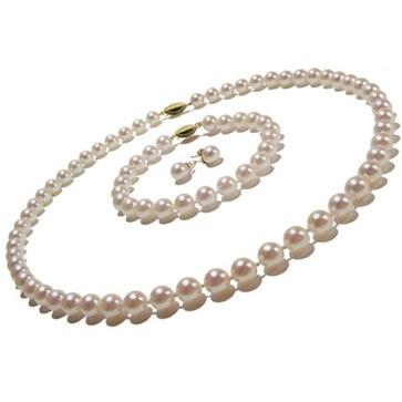 Parure 3 gioielli di perle di coltura Akoya, 6.5-7 mm, bianche