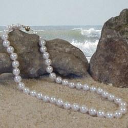 Collana di perle di coltura Akoya, 45 cm, 9-9,5 mm, bianche