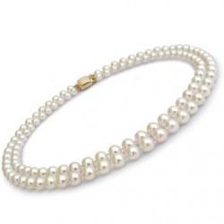 Collana doppio filo 43/45 cm di perle Akoya, 7-7.5 mm, bianche