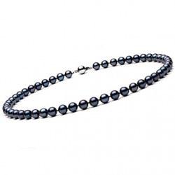Collana di perle di coltura Akoya, 40 cm 7-7.5 mm nere