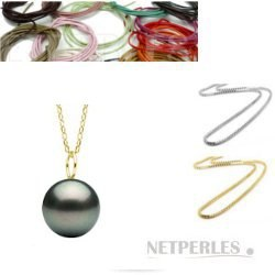 Pendente in Oro 18k ad anello 6 mm con perla di Tahiti, qualità AA+ o AAA