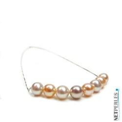 Collana catenina oro giallo 14k 8 perle di acqua dolce 8-9 mm qualità AAA multicolori