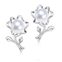 Orecchini di perle Fiorellini in Argento 925 e Perle Akoya 6,5-7 mm AAA