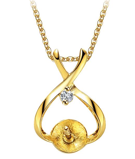 Beliera per pendente in oro 9k e diamante per perla di coltura da 6,5 a 8 mm