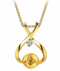 Beliera per pendente in oro 18k e diamante per perla di coltura da 6,5 a 8 mm