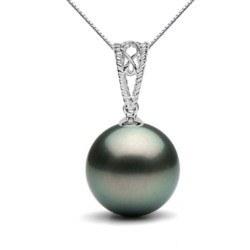 Pendente in oro 18k con perla nera di Tahiti a partire da 9-10 mm