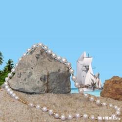Collana 45 cm perle d'acqua dolce da 7- 8 mm AAA biglie in oro bianco 14k