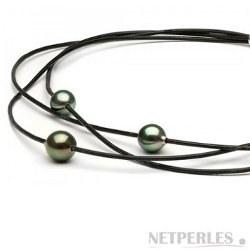 Collana intreccio di cordoni di cuoio con tre perle di Tahiti