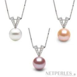 Pendente in argento con diamanti e Perla di acqua Dolcehadama