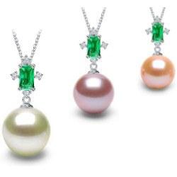 Pendente in Oro 18k tormalina verde e perla d'acqua dolce DOLCEHADAMA
