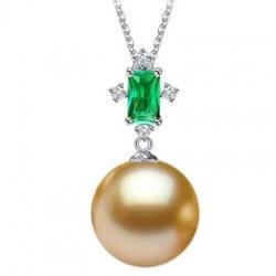 Pendente Oro 18k tormalina verde e perla Filippina dorata AAA