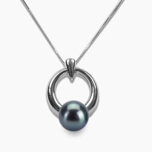 Pendente Argento 925 Perla d'Acqua Dolce nera 6-7 mm AAA