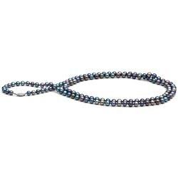 Collana lunga 90 cm di perle d'acqua dolce nere da 6-7 mm