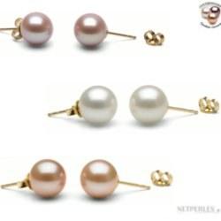 TRIS: 3 Paia di Orecchini Oro 14k perle DOLCEHADAMA 8-9 mm, 3 colori