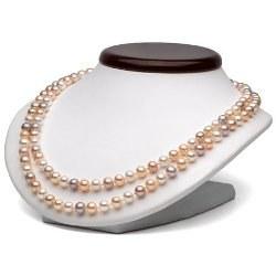Collana doppio filo 43/45 cm Perle Acqua Dolce 6-7 mm multicolori