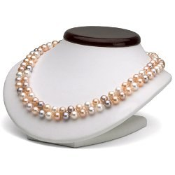 Collana doppio filo 43/45 cm Perle Acqua Dolce 7-8 mm multicolori