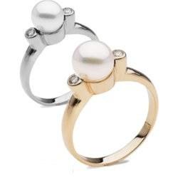 Anello in oro 14 carati con diamanti e perla Akoya 6-6,5 mm bianca AAA