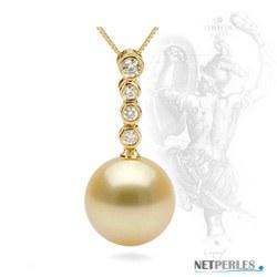 Pendente Oro 18k con perla Filippina dorata AAA e diamanti