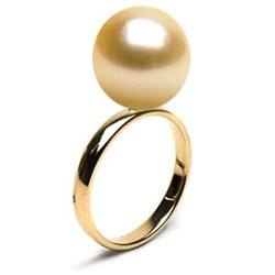 Anello in oro 14k con perla filippina dorata AAA
