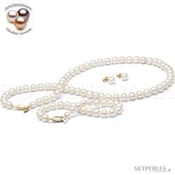 Parure 3 gioielli 45/18 cm perle d'acqua dolce 6-7 mm bianche DOLCEHADAMA