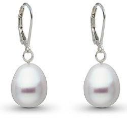 Orecchini in Argento 925 perle Australiane bianche a goccia 10-11 mm