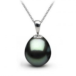 Pendente in oro 18k con perla di Tahiti a forma di goccia superifice liscia AAA