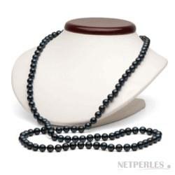 Lunga collana di 90 cm, perle Akoya nere 6.5-7 mm AA+