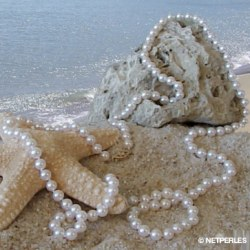 Collana lunga 114 cm di perle di coltura Akoya 6.5-7 mm, bianche