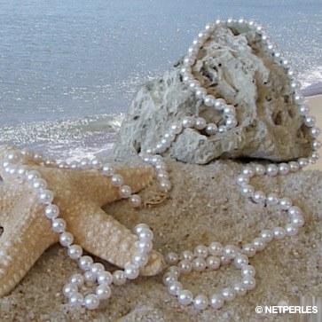 Collana lunga Sautoir 130 cm perle di coltura Akoya 6.5-7 mm bianche