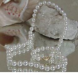 Collana 55 cm di perle di coltura d'acqua dolce da 6-7 mm, bianche