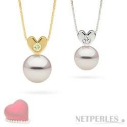 Pendente Cuore in Oro e diamante con perla Akoya bianca AAA