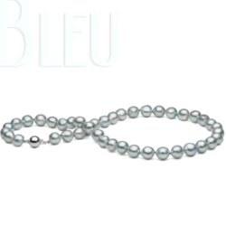 Collana di Perle Akoya Barocche 45 cm, 8.5-9 mm blu argento