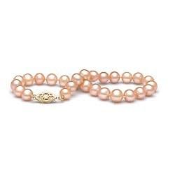 Braccialetto 18 cm di perle di coltura d'acqua dolce rosa pesca da 6-7 mm