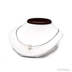 Cavo SHAULA 42 cm in oro 18k che attraversa una perla Australiana bianca