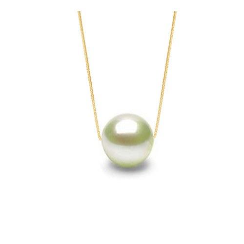 Perla di acqua dolce 7-8 mm bianca AAA catenina 40 cm in oro giallo 14k