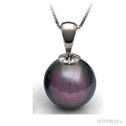 Pendente in oro 18k con perla d'cqua dolce nera qualità AAA