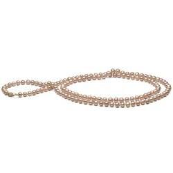 Collana sautoir 130 cm di perle d'acqua dolce rosa pesca da 6-7 mm